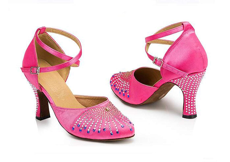 Damen Kristalle Sparking Sparking Sparking Satin Latin Salsa Tanzschuhe Tango Chacha Samba Modern Jazz Schuhe Sandalen High Heels, schwarzheeled8CM-UK4   EU35   Our36 B07MS7SDQF Tanzschuhe Neueste Technologie 620cb3