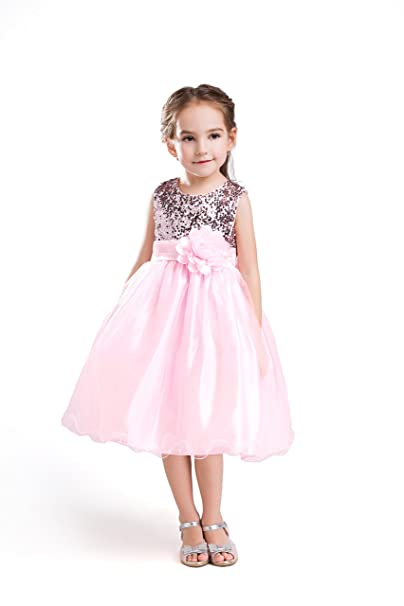 ELSA & ANNA® Princesa Disfraz Traje Parte Las Niñas Vestido de Fiesta de Boda Vestido de Navidad ES-PNK-PDS03