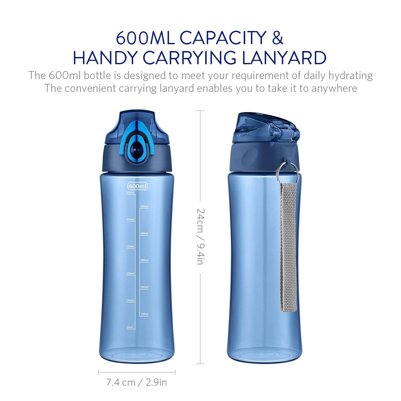 OMorc 600ml Botella de Agua Deporte, Muy Resistente Fabricado Con Un Plástico Libre de BPA No Tóxico, Tiene un Doble Cierre de Seguridad, 1-Click ...