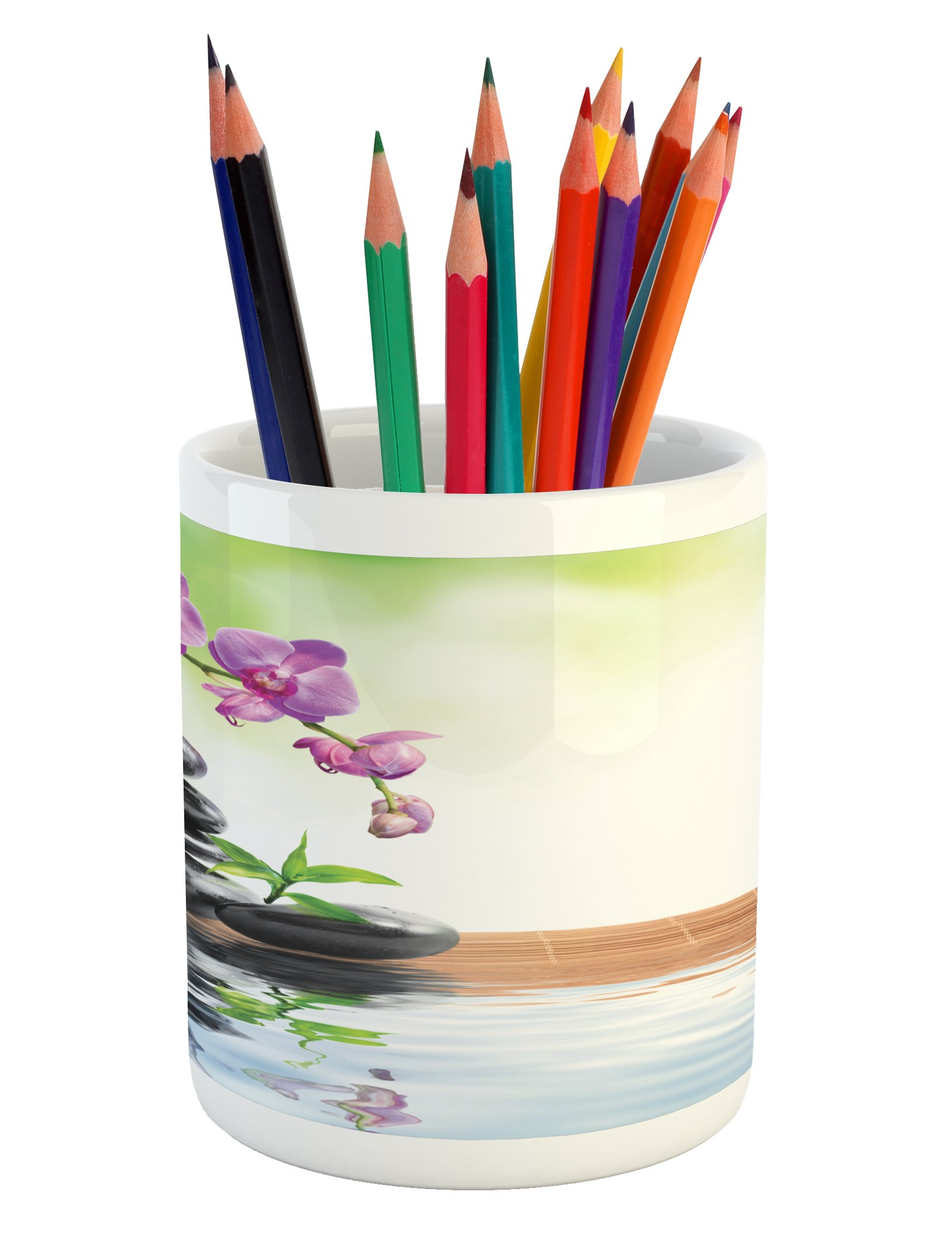 Ambesonne Spa Pencil Pen Holder, Spa with Spring Water Health Giving Properties Asian Eastern Way of Getting Better Art, Printed Ceramic Pencil Pen Holder for Desk Office Accessory, Multicolor