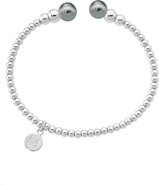 Majorica pulsera con cuentas rodio acero inoxidable, 8 mm Ronda gris perlas, 14626.03.0.000.010.1