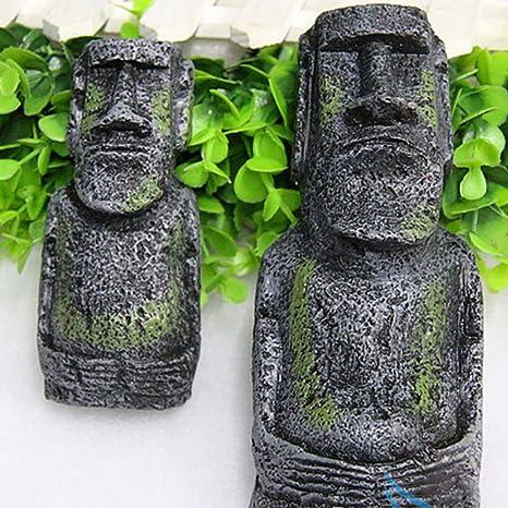 Changlesu - 2 Piezas de Figuras de Cabeza de la Antigua Isla de Pascua Retrato para