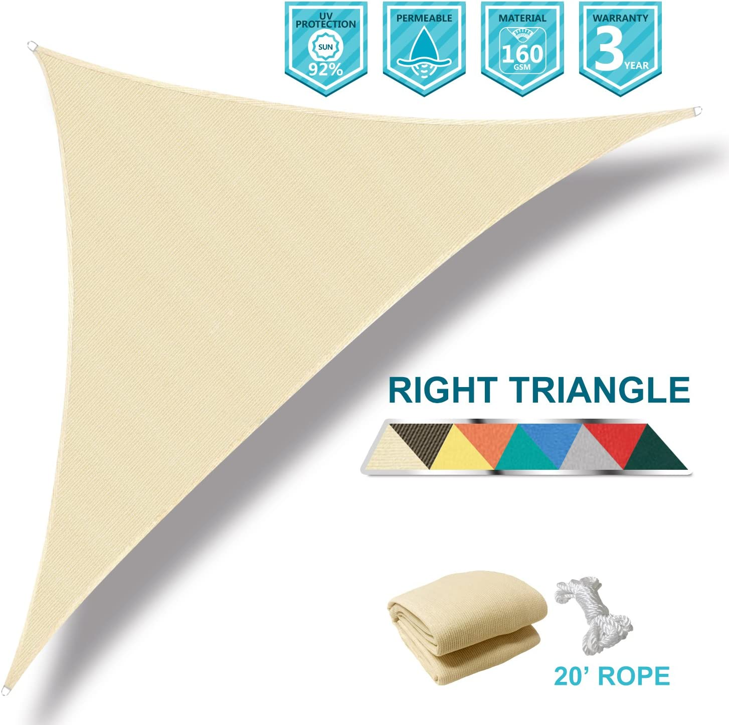 Coarbor 8 x8 x11.3 Right Triangle Beige UV Block Sun Shade Canopy Perfect for Patio Yard Deck Outdoor Garden