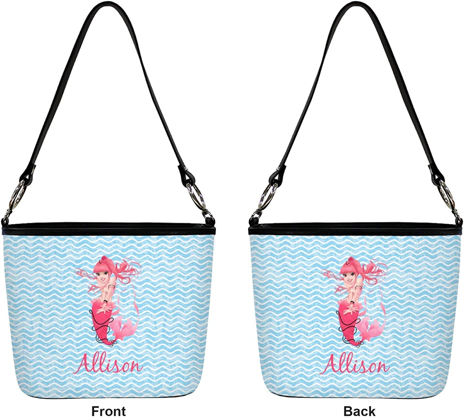 Personalized Front /& Back Mermaids Hobo Purse w//Genuine Leather Trim