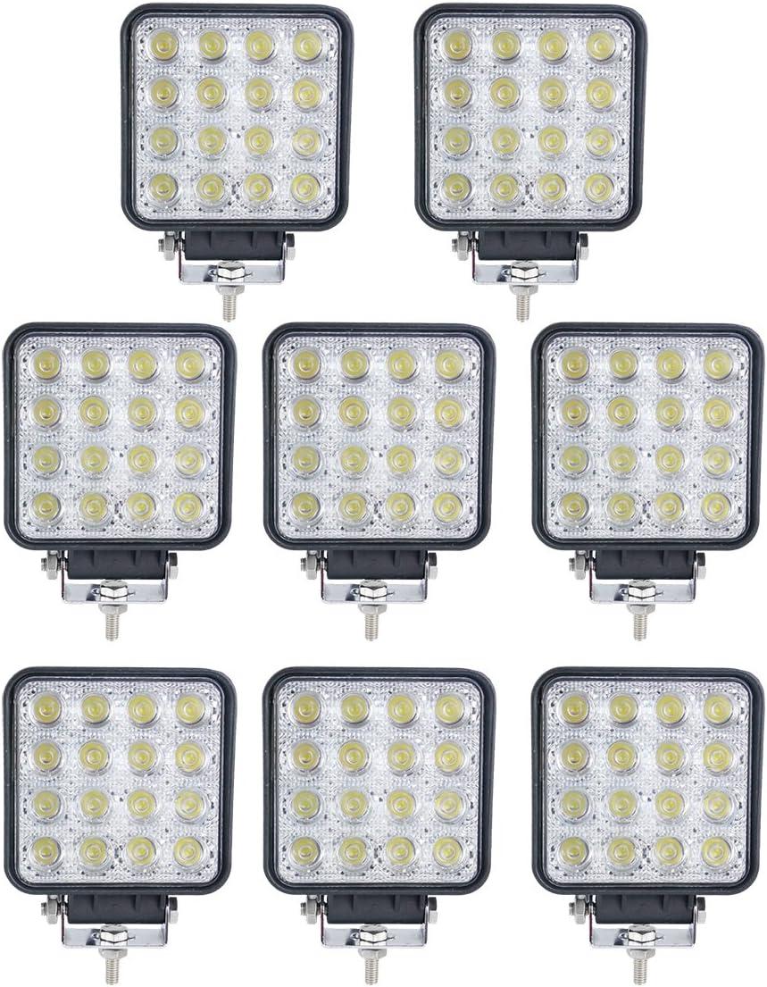 BRIGHTUM 48W 4.3 inch 4560LM phare de travail LED lampe voiture SUV ATV tracteur pelleteuse camion grue 4x4 Work light Lampe /à LED pour v/éhicule tout-terrain 12V 24V Lumi/ère 12 pi/èce