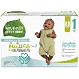 Seventh Generation Baby Diapers for Sensitive Skin, Printed, Size 1, 80Count