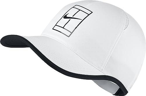 Nike Mens Featherlite Aerobill Court Tennis Hat White Black 864105-100   Amazon.ca  Jewelry 5efaa8f5c129