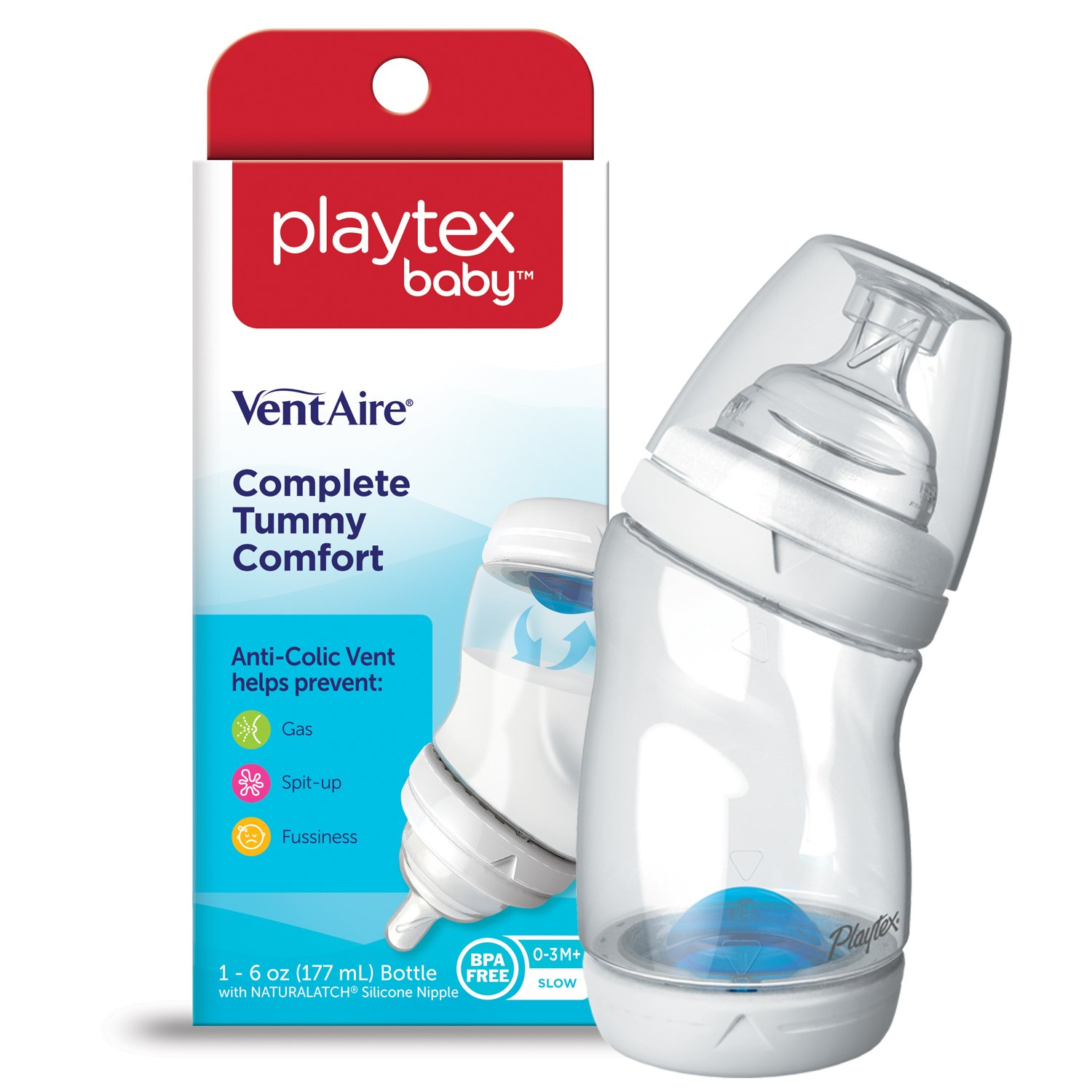 Playtex Baby BPA-Free VentAire Baby Bottles with Unique Anti-Colic Back Venting System 6 Ounce
