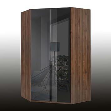 2 Trg. Eckschrank, Schlafzimmerschrank, Eckkleiderschrank, Drehtüren,  Fronten Glas Schwarz,