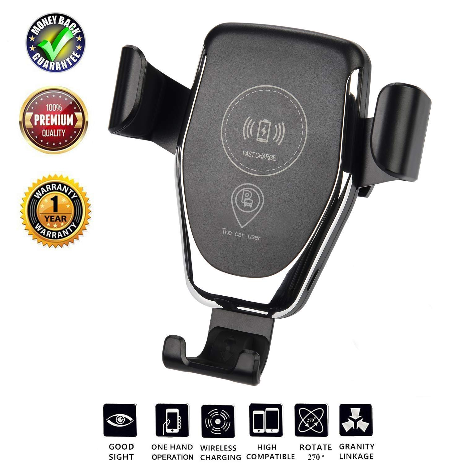 Wireless Charger Car Mount, One-Hand Auto Clamping Air Vent Phone Holder, 10W Fast Charging for Samsung Galaxy S8 S9 S7 Note 8. 7.5W Compatible with iPhone 8/XS/XR/X and Qi Enabled Devices.Black by Dupige