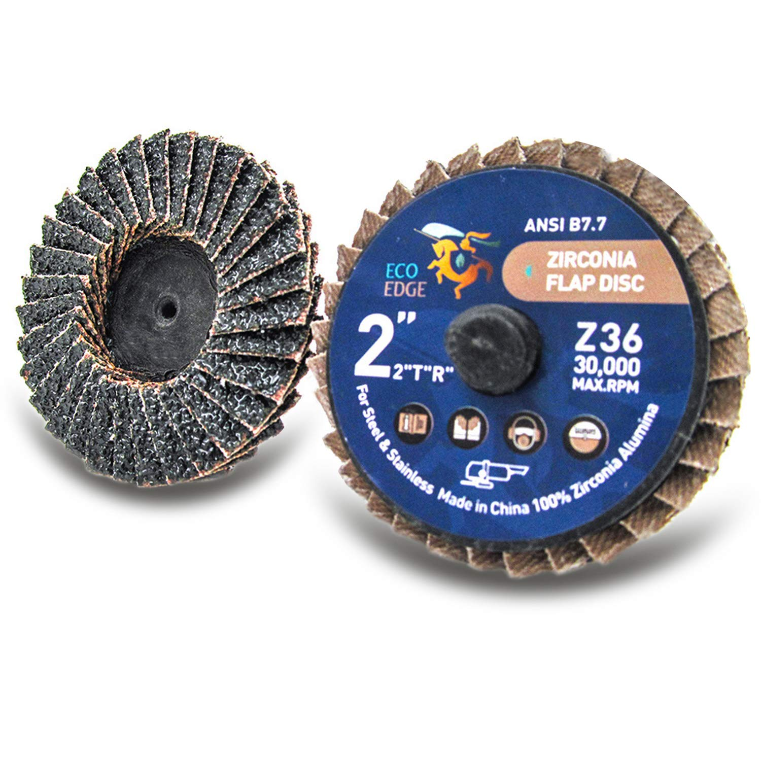 Type R Pack of 10 Z60 Grit Eco Edge 2 Zirconia Abrasive Flap Disc