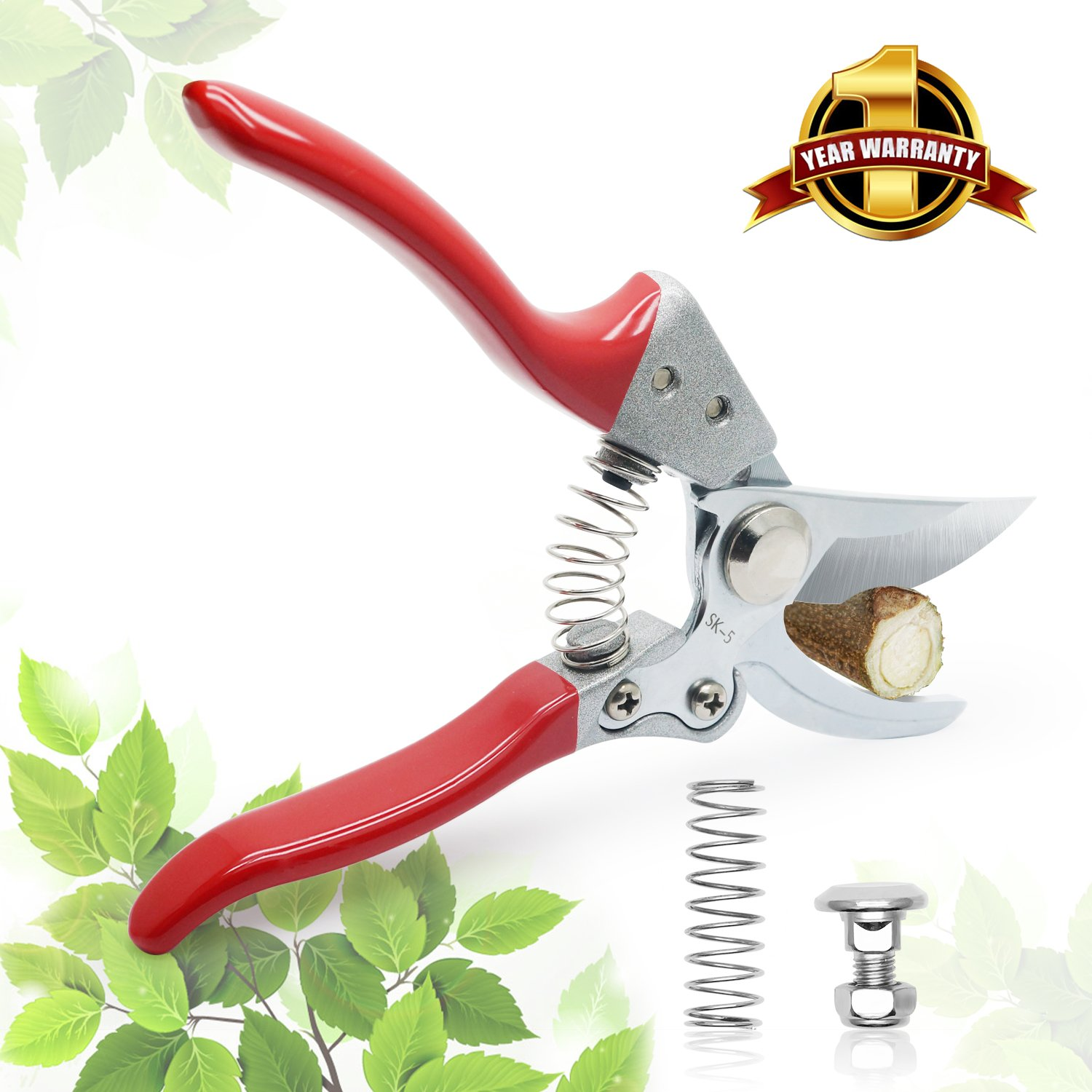 Pruning shears, Abida Garden Clipper, Professional High Carbon SK-5 Steel Sharp Hand Pruner shear with Safety Lock, Clipper for the Garden