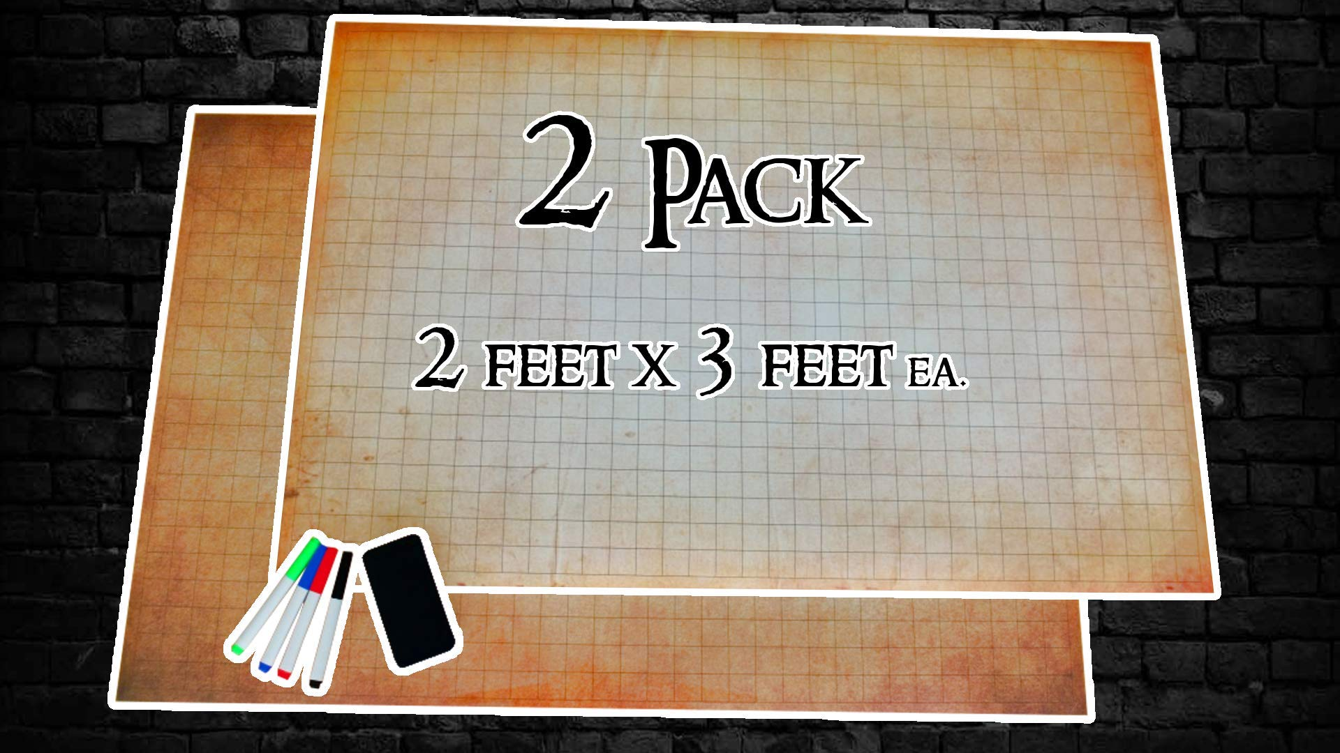 RPG Battle Gaming Mat   2 Pack 24'' x 36'' with 1'' Grid System   Includes 4 Colored Markers and Eraser   Great for Dungeons and Dragons (DND) Games   Tabletop Grid Board