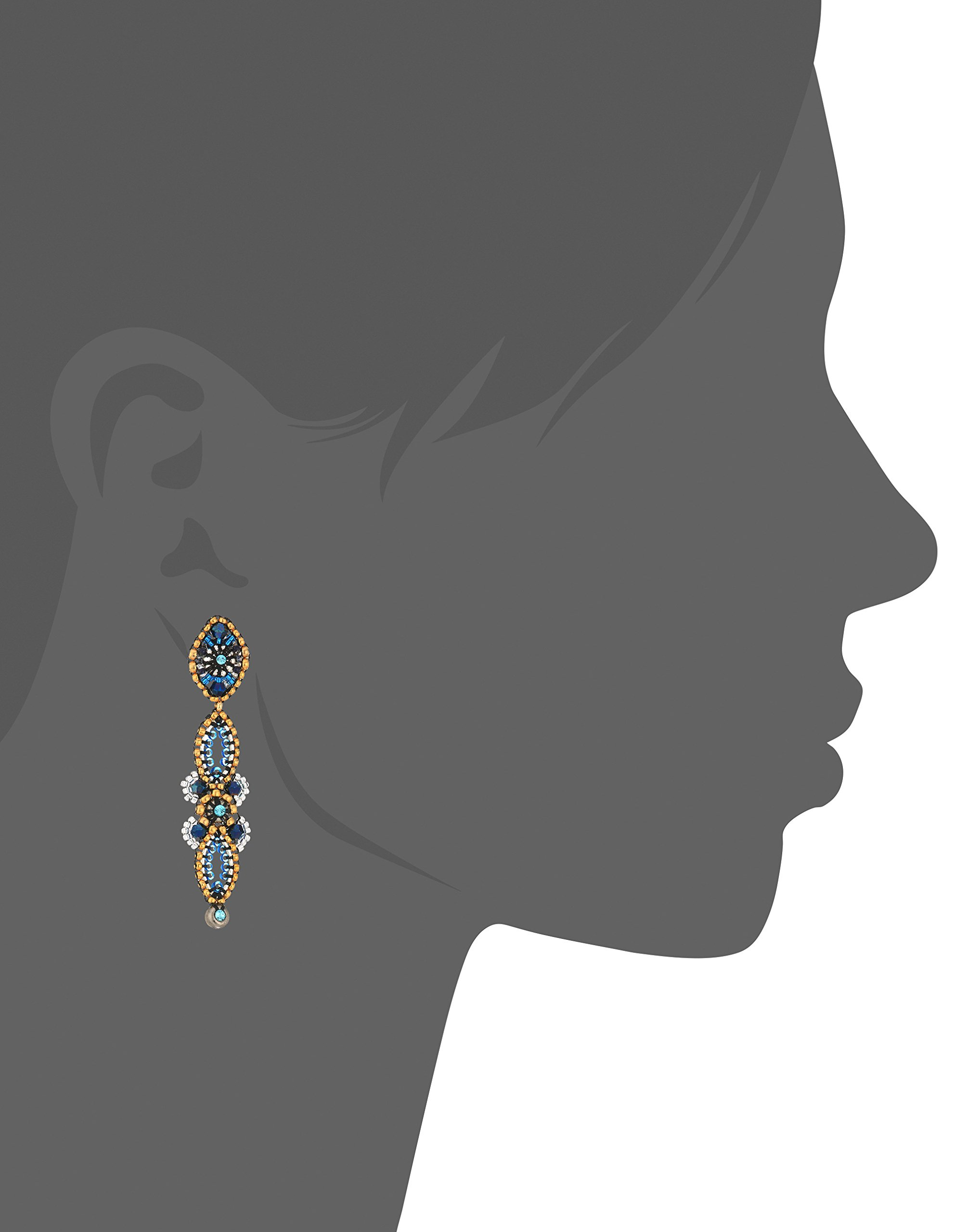Miguel Ases Vertical Linear Fleur Petals Swarovski Cluster Post Drop Earrings, Egyptian Blue by Miguel Ases (Image #2)