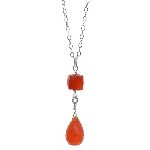 ASHANTI Carnelian Briolette Natural Gemstone Sterling Silver Handmade 18 inch Necklace