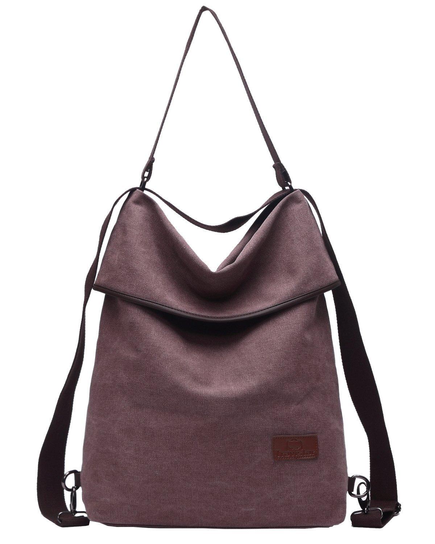 Travistar Women Multifunction Shoulder Bag- Canvas Backpack Purse Crossbody Casual Daypack