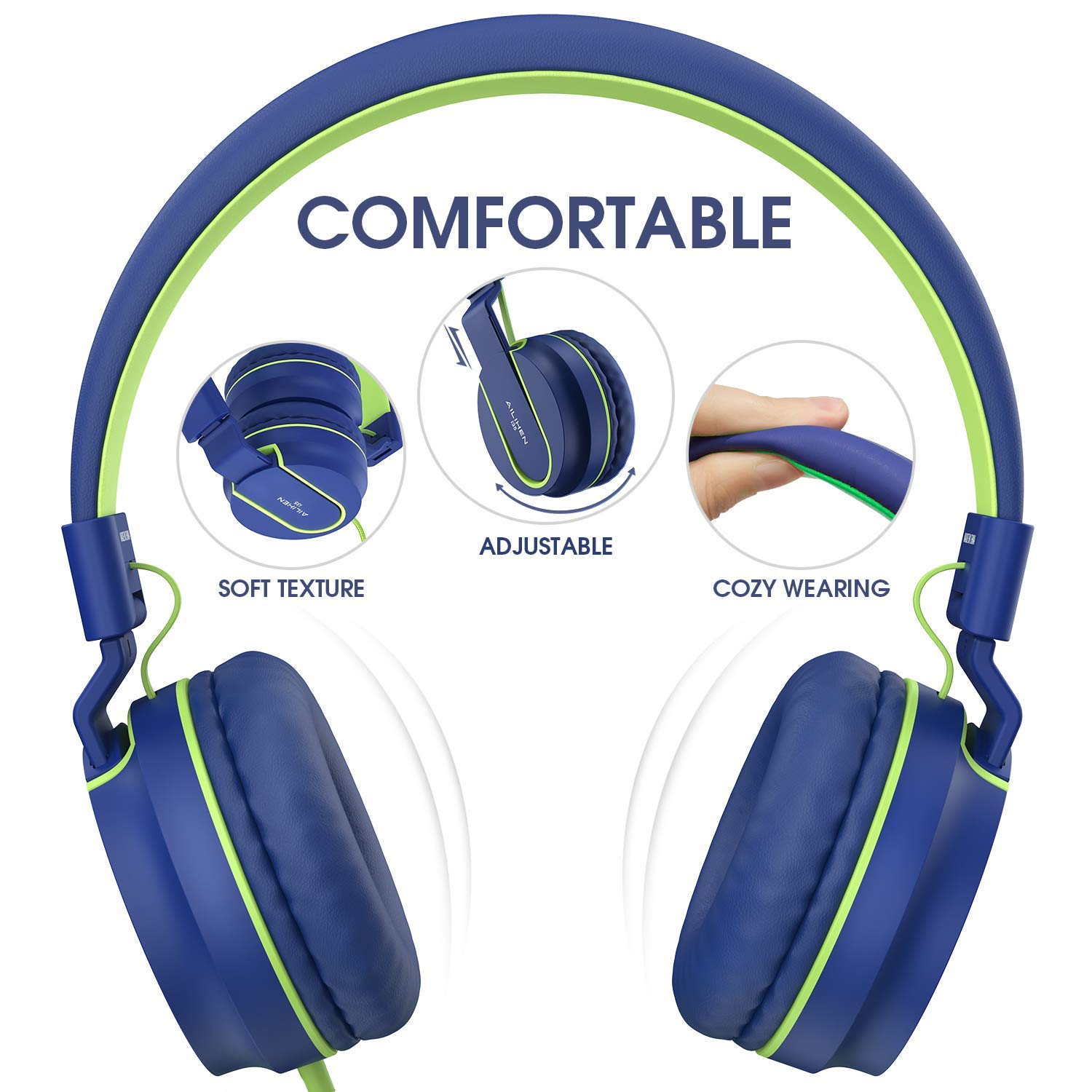 Black//Orange AILIHEN I35 Kid Headphones with Microphone Volume Limited Children Girls Boys Teen Lightweight Foldable Portable Wired Headset for School Airplane Travel Cellphones Tablets Smartphones