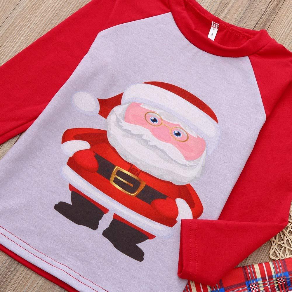 Dad,L 2Pcs Family Matching Christmas Santa Claus Outfits Long Sleeve T-Shirt Romper+Plaid Long Pants Pajamas
