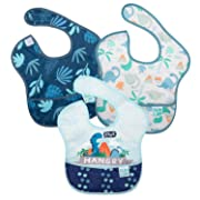 Bumkins SuperBib, Baby Bib, Waterproof, Washable, Stain and Odor Resistant, 3 Piece Pack, Hangry, Dinosaurs, Blue Tropic, 6-24 Months