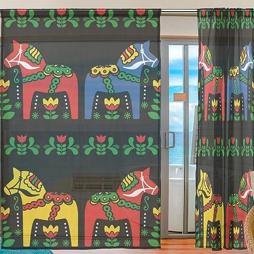 Curtains Window Sherrs Panels Swedish Dala Horse Folk Window Sheer Panel