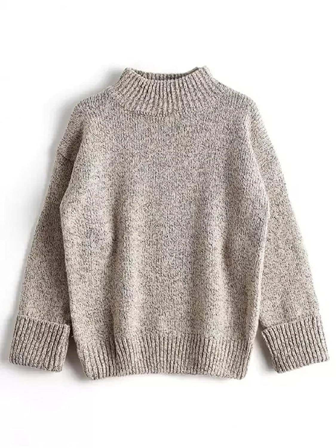 Amordaily Loose Sweater Rolled Cuff Pullover Warm Mock Neck Solid Color