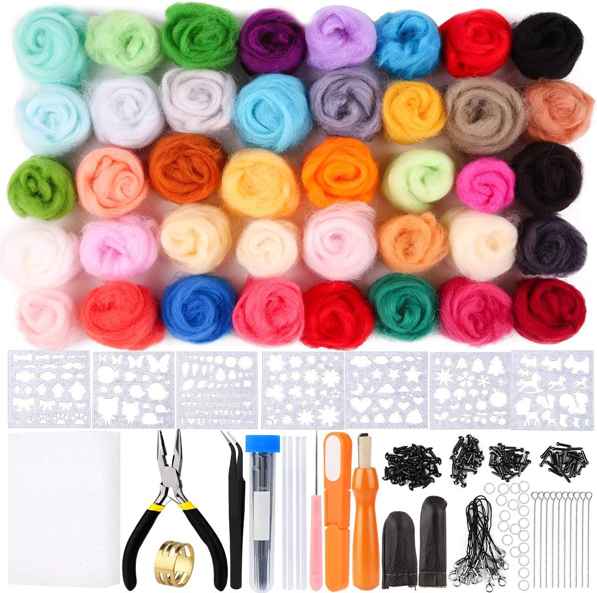 24-Color Wool Roving for Needle Felting with Felting Supplies and Storage Box Tools Needle Felting Kit for Beginners