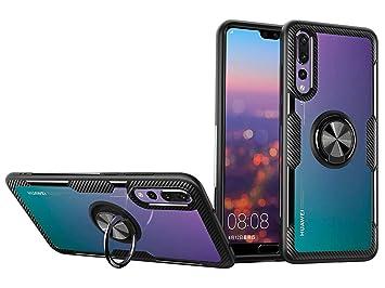 SORAKA Funda para Huawei P20 Pro,Transparente Carcasa con Soporte para Anillo,Compatible con Soporte Móvil Coche Magnético