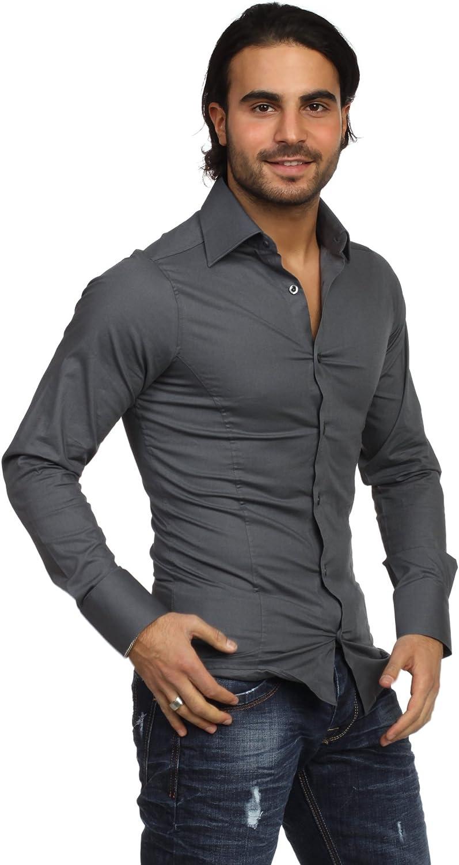Redbridge Classic Chemise de travail Col chemise Manches longues Homme Gris - Anthracite