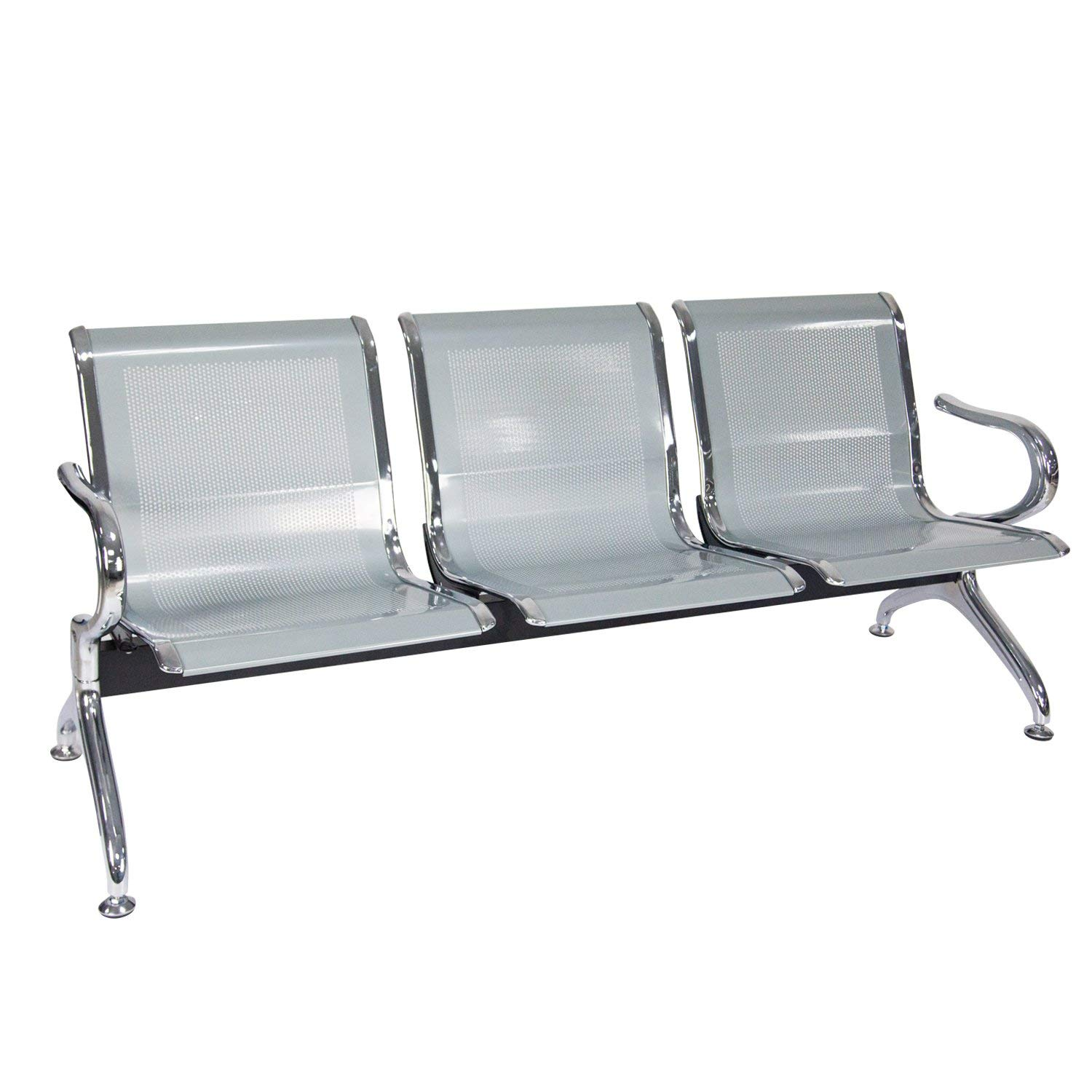 Reception Chair Waiting Room Chair with Arms Reception Bench for Business, Office, Hospital, Market, Airport Silver, 3 Seats