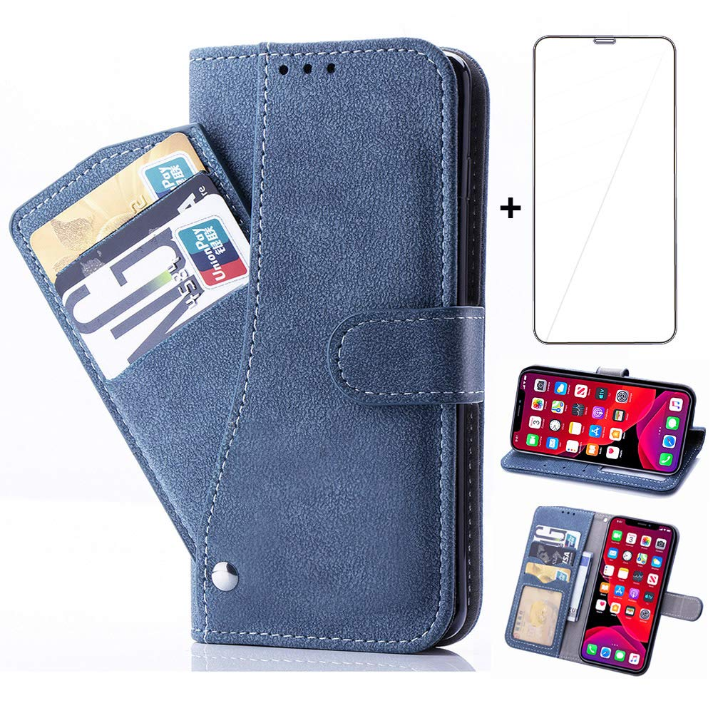 Asuwish iPhone 11 Pro Max Wallet Case,Leather Phone Cases and Screen Protector Tempered Glass with Card Holder Slot Stand Kickstand Shockproof Flip Protective Cover for Apple iPhone11Pro Max Black