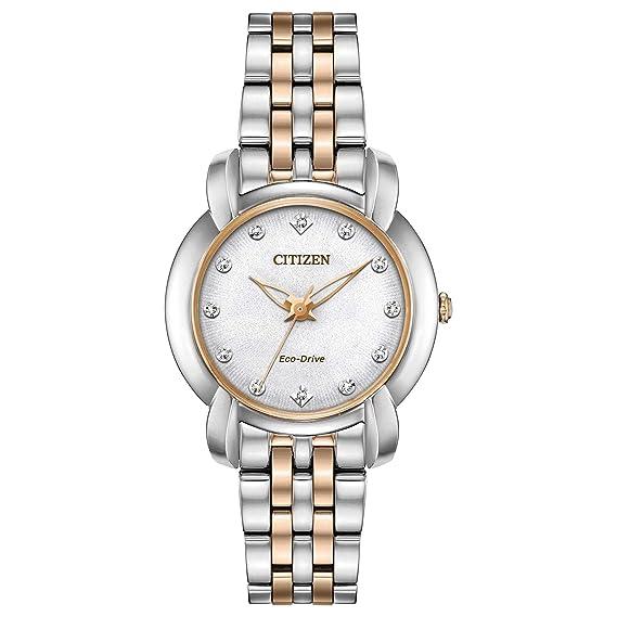 Citizen EM0716-58A Jolie - Reloj para mujer, color plateado y oro rosa