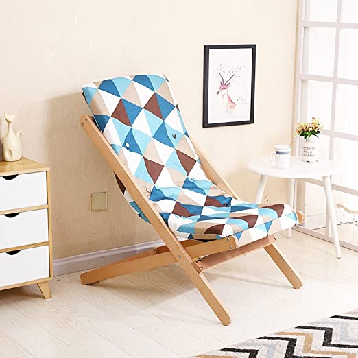 Amazon.com : Folding Chairs Deck Chair Lounger Nap Office Solid Wood ...