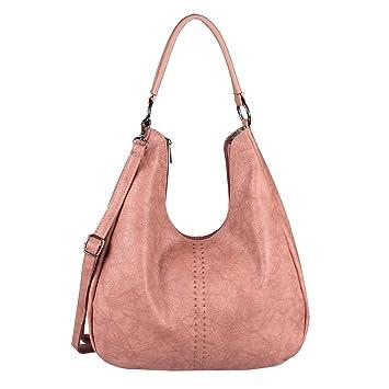 1befadf70049f OBC Damen Tasche Shopper Hobo-Bag Henkeltasche Schultertasche Umhängetasche  Handtasche Crossover Leder Optik Reisetasche Beuteltasche