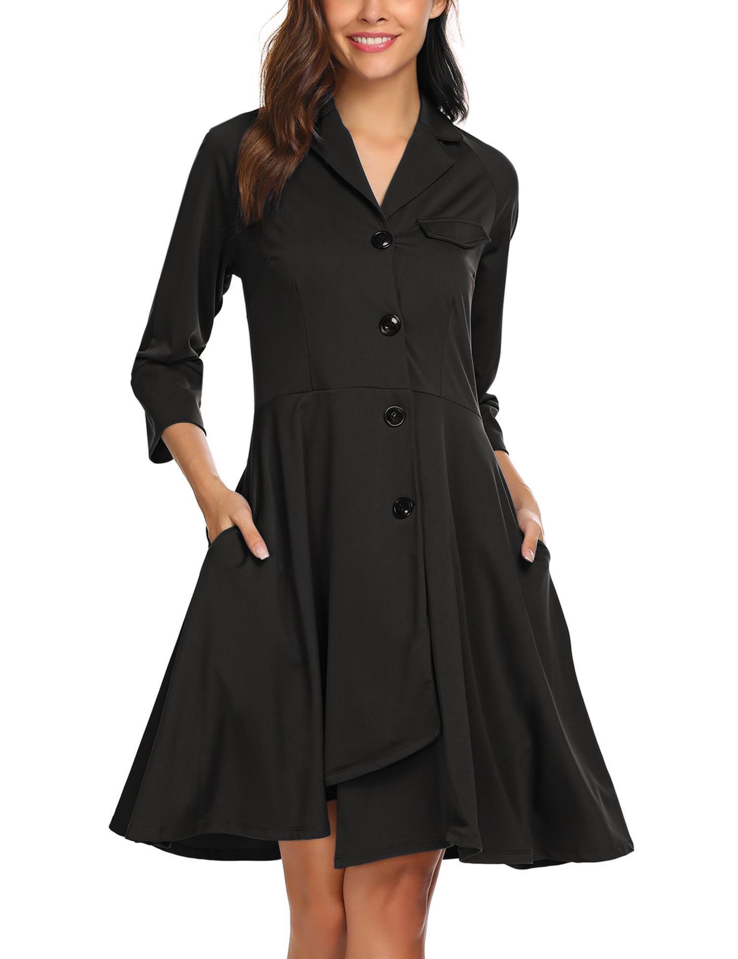 ELESOL Women Long Sleeve Trench Coat Dress Coat Style Overcoat Outwear Black L