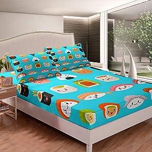 Erosebridal Toddler Fitted Sheet, Cartoon Sushi Bed Sheet Set Queen Size Japanese Sushi Bed Cover for Kids Child Girls Boys Teens Fast Food Bedding Set for Bedroom Dorm Decorative, Blue