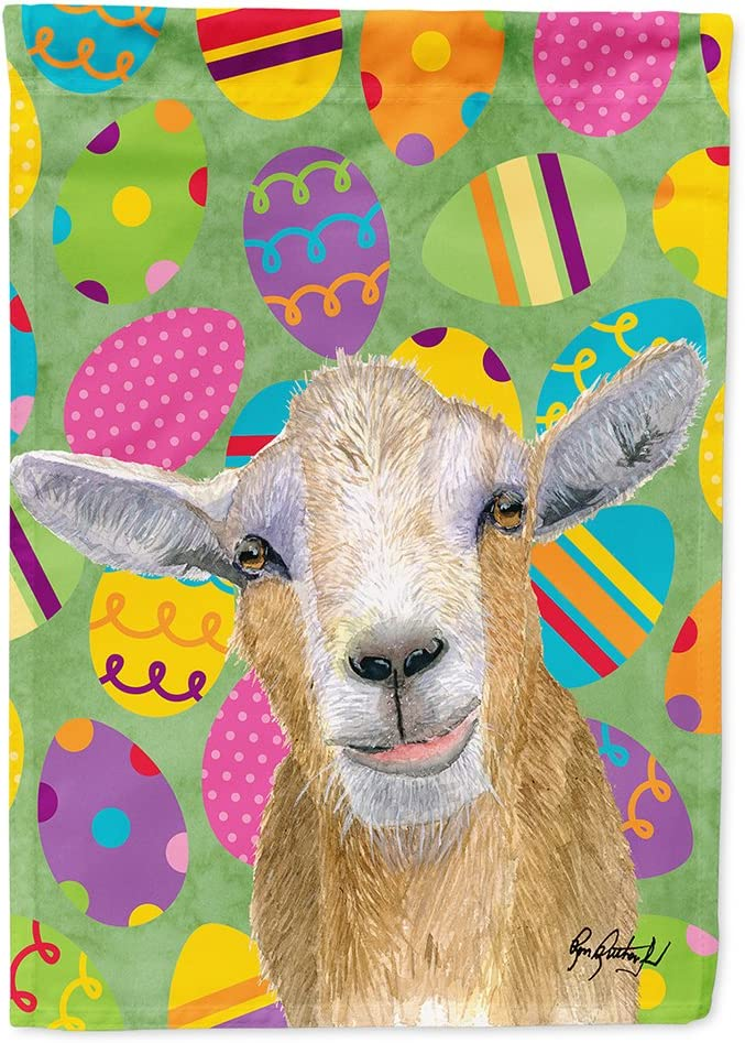 Caroline's Treasures RDR3021GF Eggtravaganza Goat Easter Flag Garden Size, Small, Multicolor