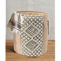 "FLBER Woven Basket Macrame Storage Basket Canvas Laundry Bag with Handle,15""Dx17.7""H"