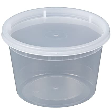 e18465c6962 Amazon.com  Microwavable Translucent Plastic Deli Container with Lid (Pack  of 24) (16 oz.)  Kitchen   Dining