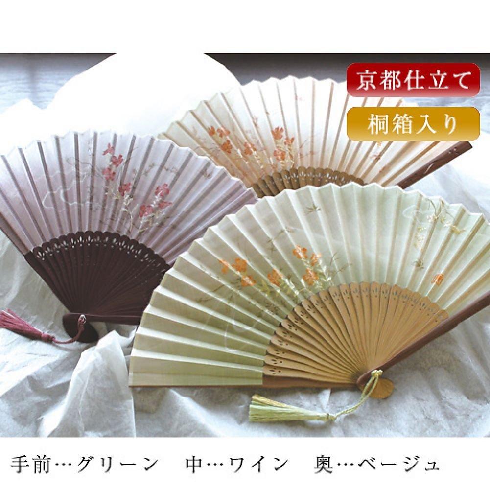 【舞扇堂】高級扇子撫子刺繍(女性向き桐箱入りギフトセット)(ワイン) B00UUYXAQC ベージュ ベージュ