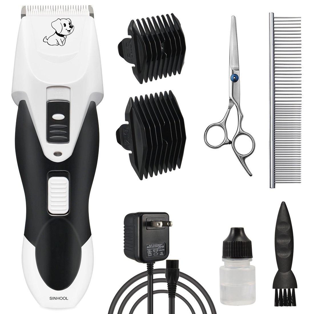Pet Grooming Clippers Professional Rechargeable Cordless Silent Dog Grooming Clippers Heavy Duty, Electric Trimmer for Dogs and Cats, Pet Grooming Kit for Other Animal with 2 Comb Guides