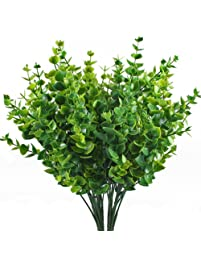 Artificial Shrubs, Hogado 4pcs Fake Plastic Greenery Plants Eucalyptus  Leaves Bushes Flowers Filler Indoor Outside