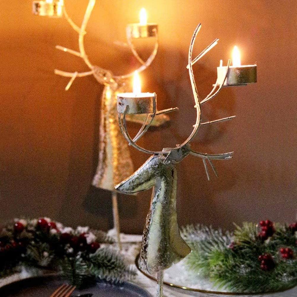 Amazon Com Jieqijiaju Reindeer Tea Light Holder Vintage Holiday Candle Holders Christmas Metal Candlestick Winter Decoration For Table Fireplace Window Use Gold Large Home Kitchen
