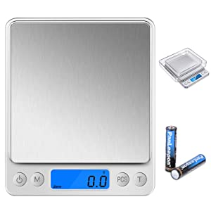 Digital Food Scale 0.1 Gram Accuracy, Kitchen Scale for Weight Loss 6 Unit Coversion, Stainless Steel Surface, Large Back-lit LCD Display, Perfect for Cooking, Baking, Jewelry, Counting, Health Diet
