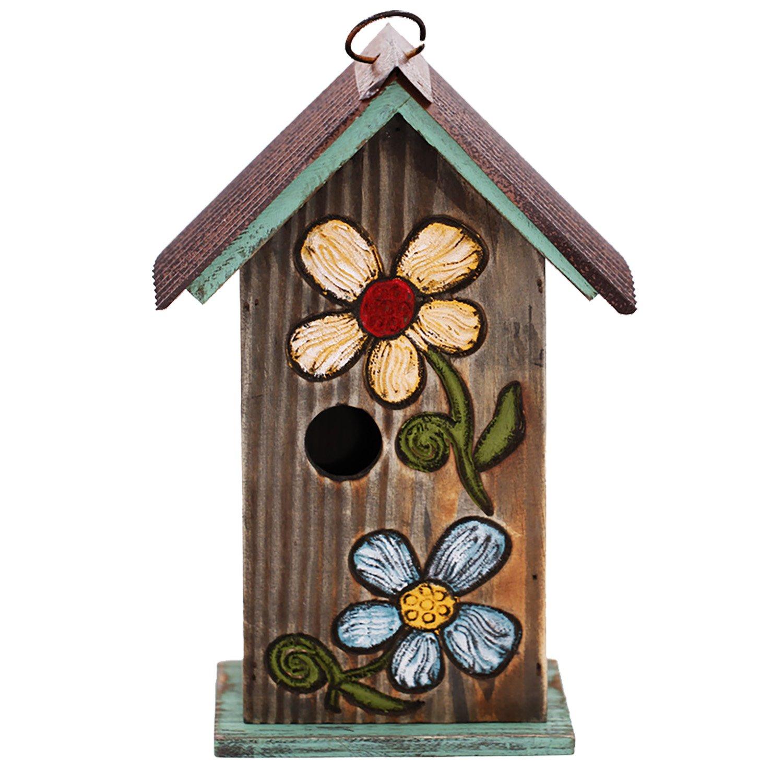CEDAR HOME Hanging Bird House Outdoor Garden Patio Decorative Resin Pet Cottage Carved Bouquet Wooden Birdhouse, Brown