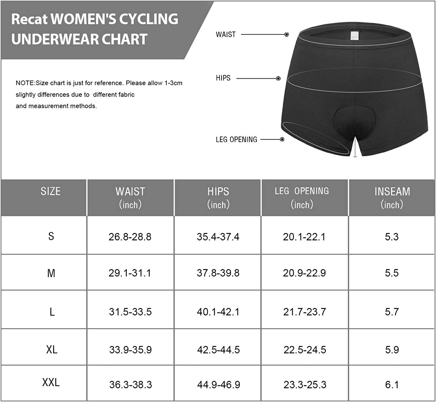 Recat Womens Bike Cycling Underwear Shorts 3D Padded Bicycle Undershorts MTB Biking Underpants Breathable /& Comfortable