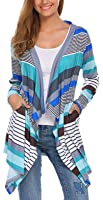 POGTMM Clearance Sales,Women's 3/4 Sleeve Open Drape Front Lightweight Geometric Print Knit Cardigan Sweaters