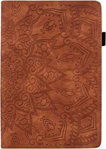 iPad Mini case mini5/4/3/2 Cases auto sleep wake Tablet Stand Flower Soft Touch Full Protection Card Pen Apple Pencil holder TPU Leather Cover for Men Woman kids(Brown)