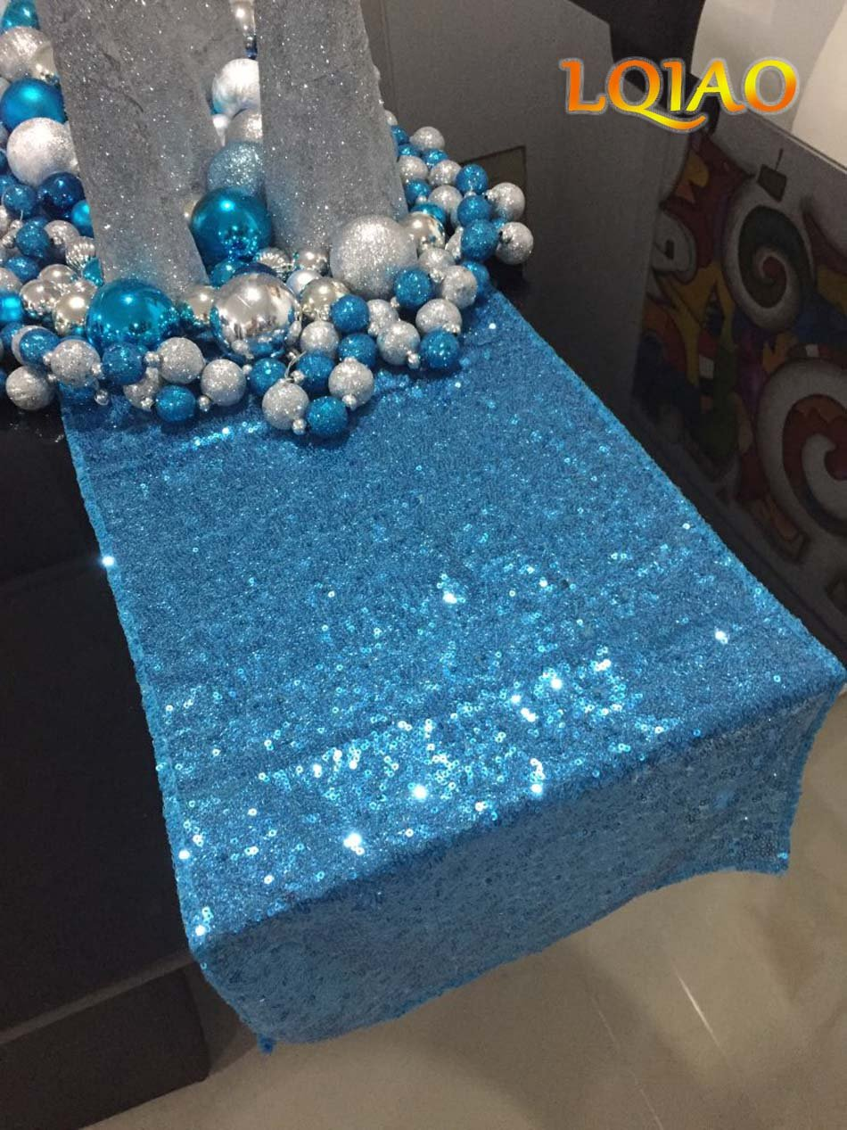 LQIAO Glitter 18PCS 14x108in-Sequin Table Runner-Sparkly Wedding Party Dining Kitchen Table Linens DIY, Turquoise