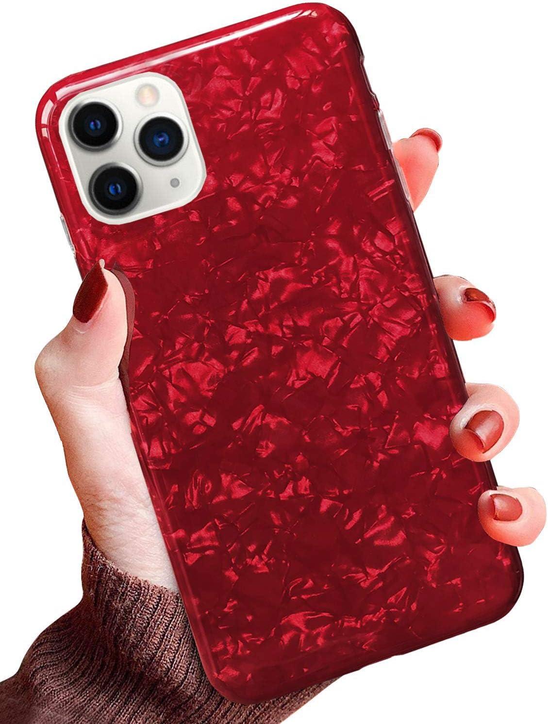 QPOLLY Compatible con iPhone 11 Pro Funda Glitter Bling Brillante Enchapado Silicona TPU Ultra Delgado Transparente Gel Suave Cubierta Protectora Case Cover para iPhone 11 Pro,Rosa Blanco