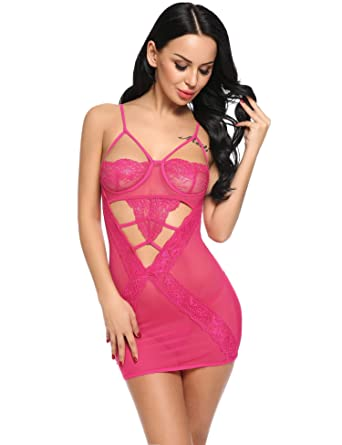 1762a30f87 Aimado Women s Sexy Sleepwear Lace Babydoll Straps Mini Nighties Lingerie  Set (Rose Red